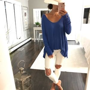 We The Free Royal Blue Stretch Thermal Shirt Med